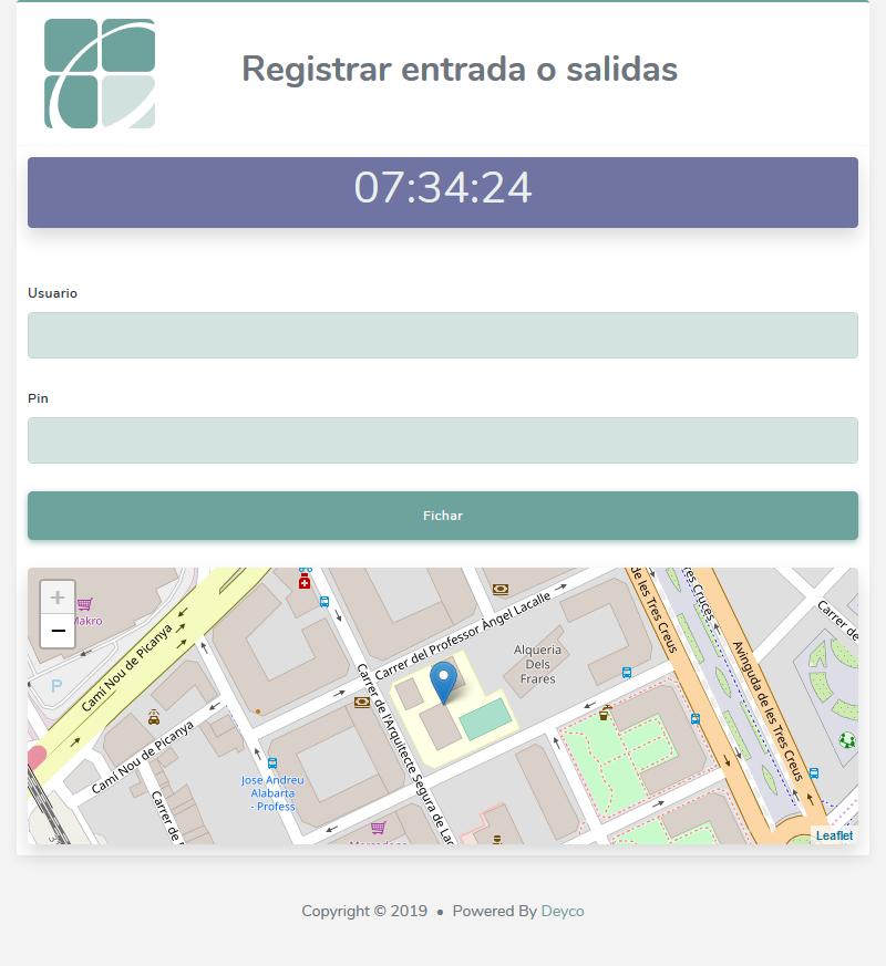 Pantalla de registro de entradas y salidas